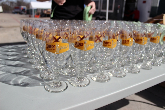 1 Year Anniversary glasses displayed and ready to go out to the first batch of guests!