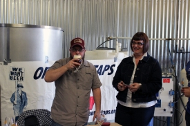 Jeremy Banas and Lara Pearson (www.girlspintout.com) atr the Open the Taps booth. www.openthetaps.org