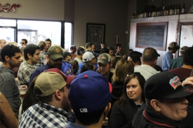 All the happy people patiently waiting for their refill of mighty fine Branchline Brewing beer!