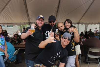 LtoR: Jeremy Banas (Ruination Press/Banas Brothers Brewing), me, Jason, Steve (Mad Pecker Brewing), and Errika!