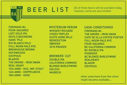 The Amazing Beer List!