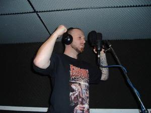 Aad Kloosterwaard wearing one of my old band's t-shirts during a Sinister recording session. What an honer this was when I saw this photo for the firs time!